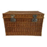 Image of Vintage C.1930s French Willow Wicker Basket Chest For Sale