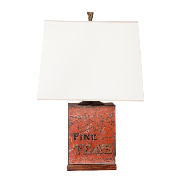 Red Antique Fine Teas Table Lamp For Sale - Image 8 of 8