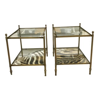 Vintage Mid-Century Modern Brass and Glass Occasional Tables - a Pair For Sale