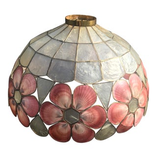 1980s Capiz Shell Lamp Shade With Pink Shell Flowers For Sale