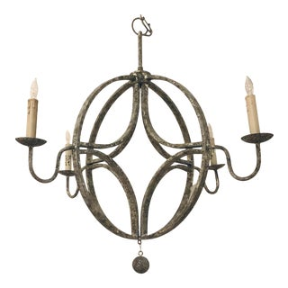 Modern Aged Iron Winthrope Chandelier For Sale