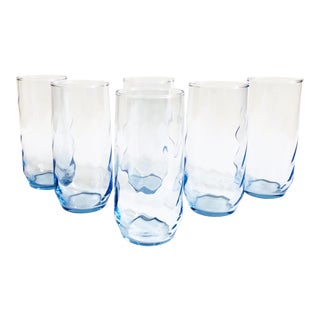 Vintage Periwinkle Swirl Tumblers - Set of 6 For Sale