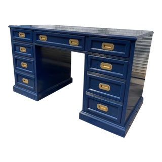 Freshly Lacquered Campaign Executive Desk For Sale