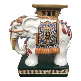 Large Elephant Plant Stand Statue For Sale