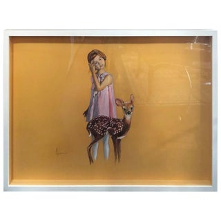 Figurative Oil Painting, Girl With Fawn by Andy Pruna For Sale