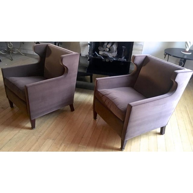 Hollywood Regency Jacques Quinet Pair of Chic Wing Chairs For Sale - Image 3 of 8