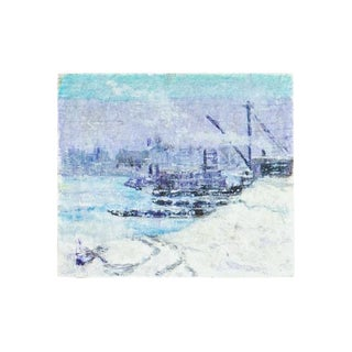 Lilac and Blue Ship Miniature Painting For Sale