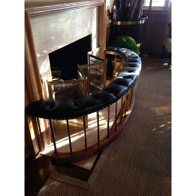 French Bow-Shape French Fireside Club Fender with Black Leather Tufted Seat For Sale - Image 3 of 6