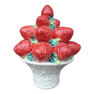 Vintage Italian Ceramic Strawberry Topiary For Sale