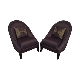 Directional Custom Purple Upholstered Pair of Club Chairs For Sale