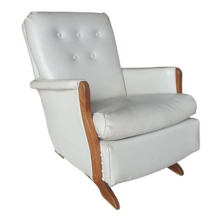 Vintage Mid-Century White Naugahyde Rocking Chair For Sale
