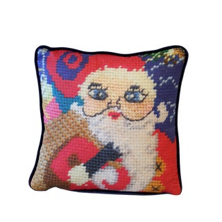Velvet Santa Holiday Pillow, Feather Down, Last Call! For Sale