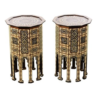 Moroccan Beautiful Mosaic Mother of Pearl inlaid Side Tables-A pair