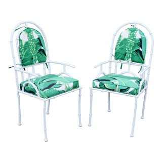 Vintage Shaver-Howard Palm Beach Regency Wrought Iron Faux Bamboo Arm Chairs - a Pair For Sale