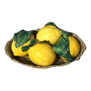 Vintage Majolica Ceramic Lemons With Rh Macy Tray - 5 Pc. Set For Sale