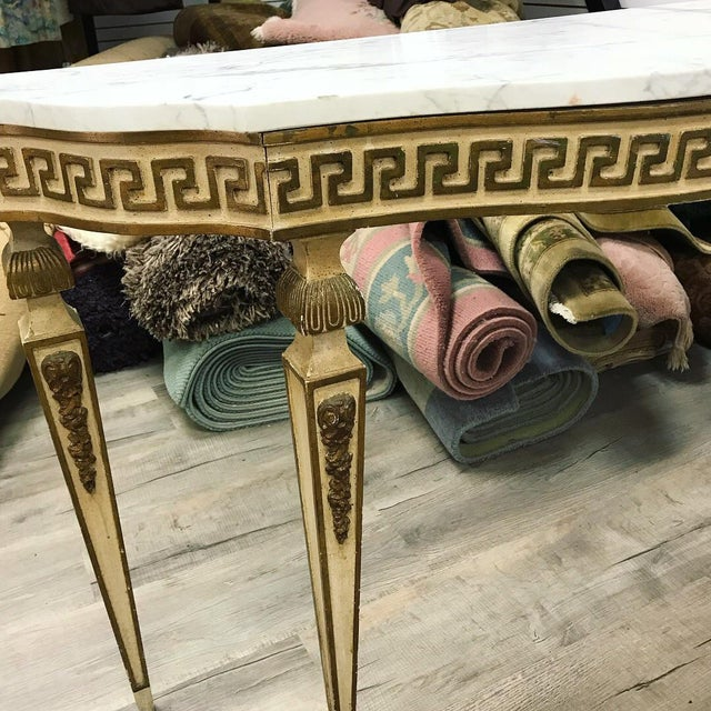 Italian 1920s Italian Marble-Top Greek Key Detailed Console For Sale - Image 3 of 6