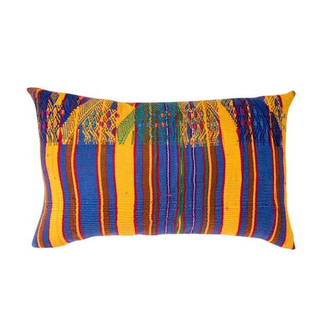 Vintage Guatemalan Yellow & Indigo Pillow - Image 1 of 5