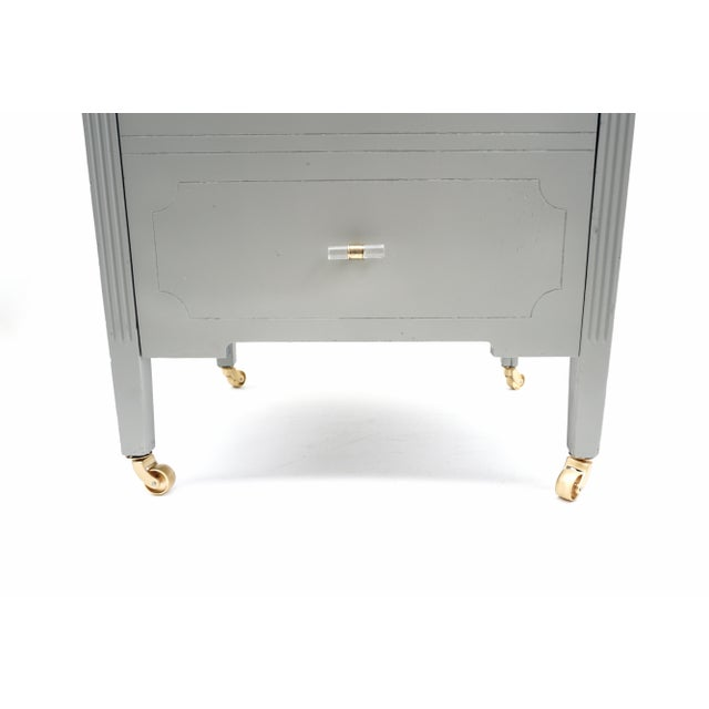Gold Art Deco Gray & Gold Rolling Record Cabinet For Sale - Image 8 of 11