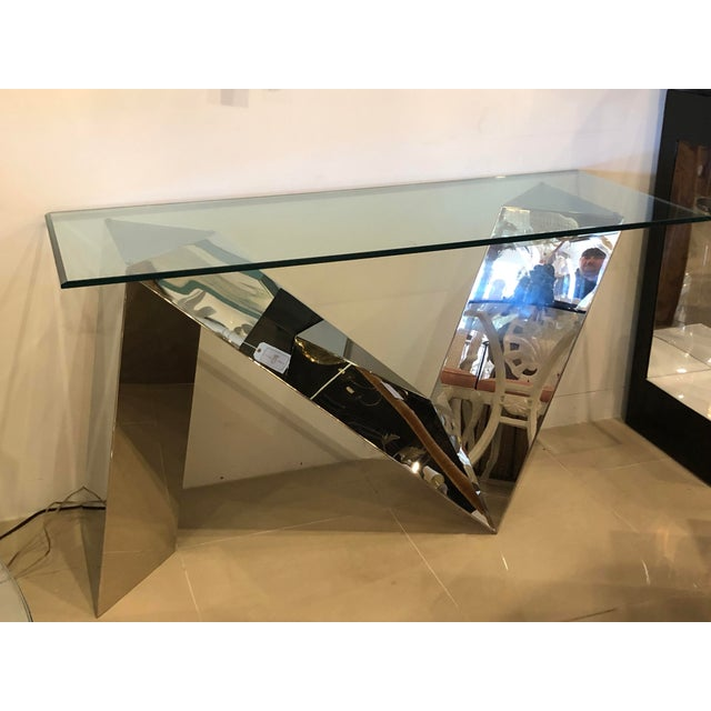 Silver Vintage Modern Polished Stainless Steel Zig Zag Geometric Console Table For Sale - Image 8 of 12