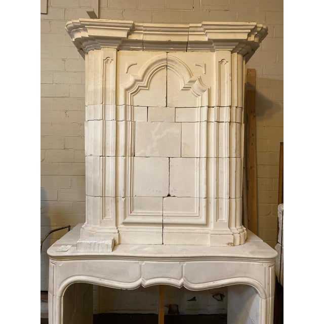 Antique Limestone Mantel with Trumeau For Sale - Image 4 of 8