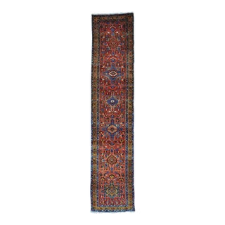 Early 20th Century Antique Persian Heriz Runner Rug - 3′1″ × 14′6″ For Sale