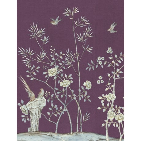 Chinoiserie Casa Cosima Amethyst Brighton Wallpaper Mural - Sample For Sale - Image 3 of 3