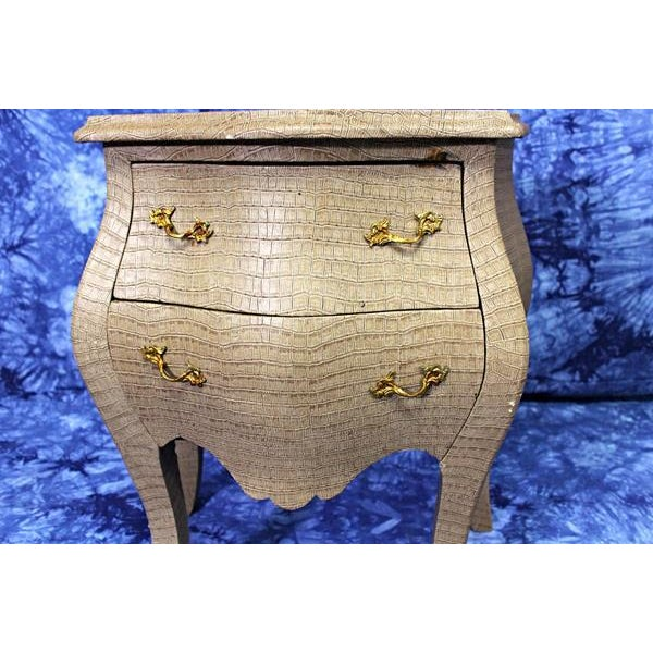 Louis XV Faux Crocodile Skin Bombe Nightstands - Image 5 of 8