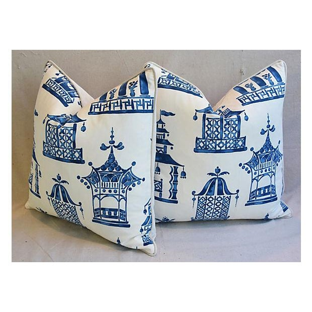 "Blue & White Chinoiserie Pagoda Feather/Down Pillows 24"" Square - Pair For Sale In Los Angeles - Image 6 of 11"