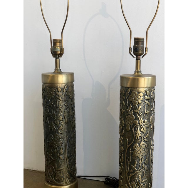 Mid-Century Modern Mid Century Westwood Brass Floral Table Lamps For Sale - Image 3 of 7