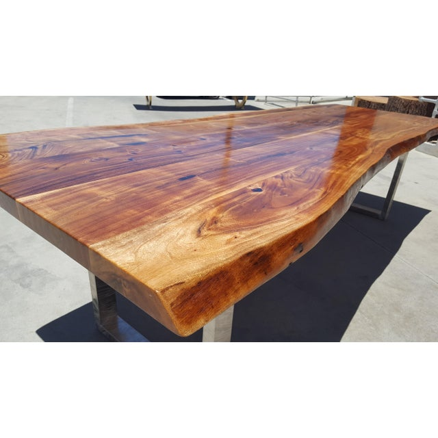Acacia Wood Live Edge Dining Table - Image 4 of 8