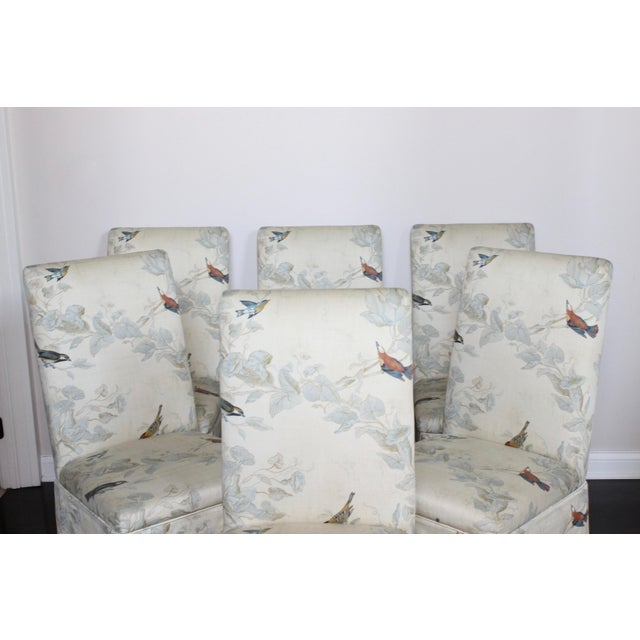 Hollywood Regency French Floral Animal Print Parson Dining Chairs - Set of 6 For Sale - Image 4 of 7