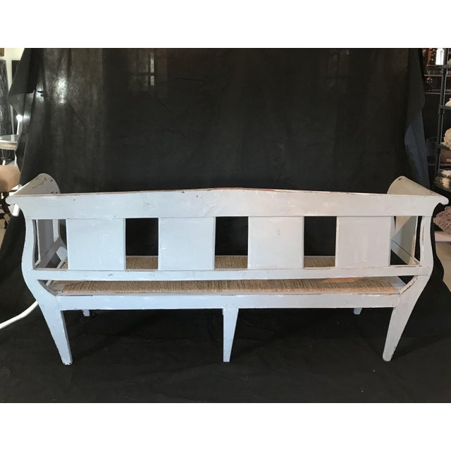 Gray Gustavian Grey Painted Rustic Bench With Original Rush Seat For Sale - Image 8 of 13