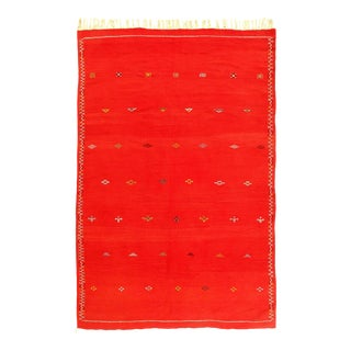 Vintage Hand Knotted Silk & Wool Flat Weave Moroccan Rug For Sale