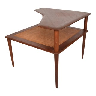 France & Sons Peter Hvidt Corner Teak Cane Table Danish Modern Daverkosen For Sale