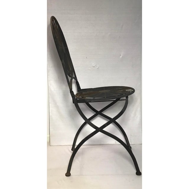 Gray 1960s Vintage Wrought Iron Pinwheel Bistro Style Folding Chair- Set of 4 For Sale - Image 8 of 13