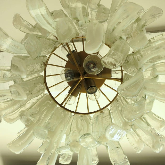 Brass Petals Chandelier by Mazzega For Sale - Image 7 of 10