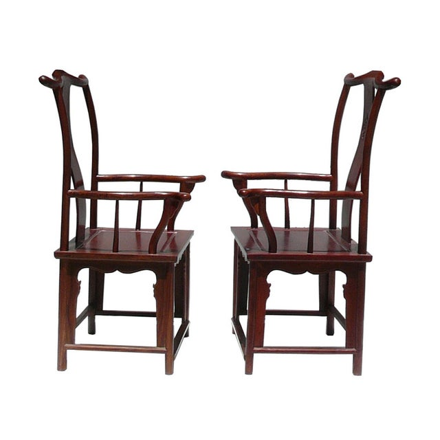 Asian Chinese Huali Rosewood Yoki-Back Armchairs - Pair For Sale - Image 3 of 5