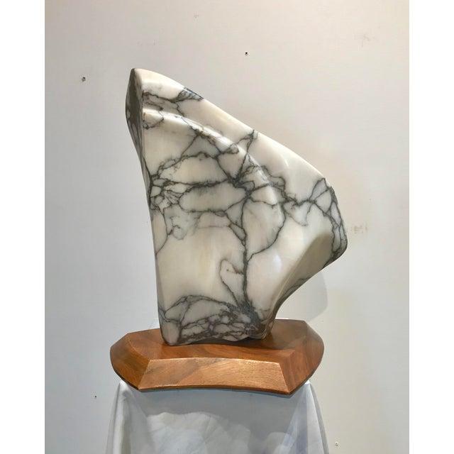 Modernist Marble Sculpture on Walnut Plinth Base For Sale - Image 4 of 12