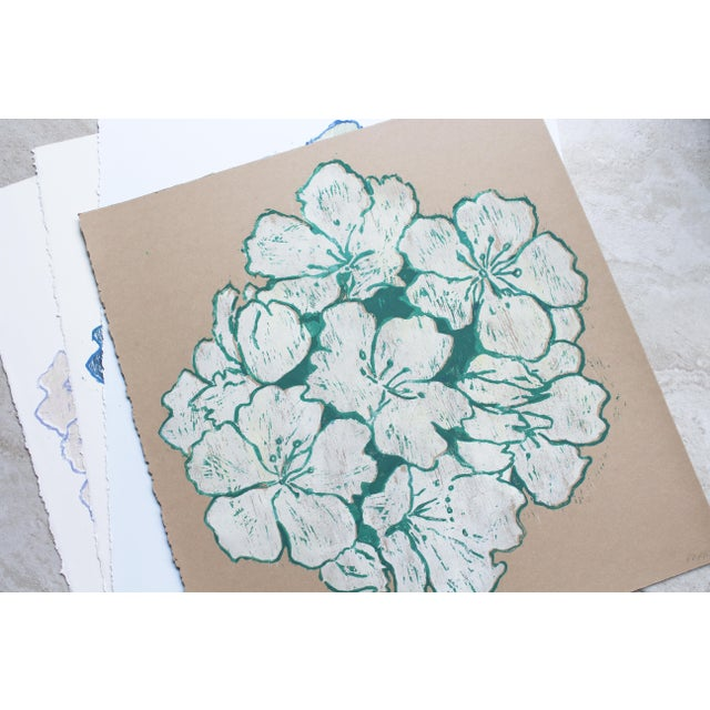 """Contemporary """"Jasmine Night Smell"""" Floral Woodblock Print by Michelle Farro For Sale - Image 3 of 10"""