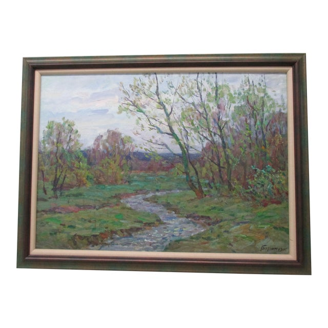 Framed Impressionist Style Oil Painting of Spring Landscape With Forest and Riverbank For Sale