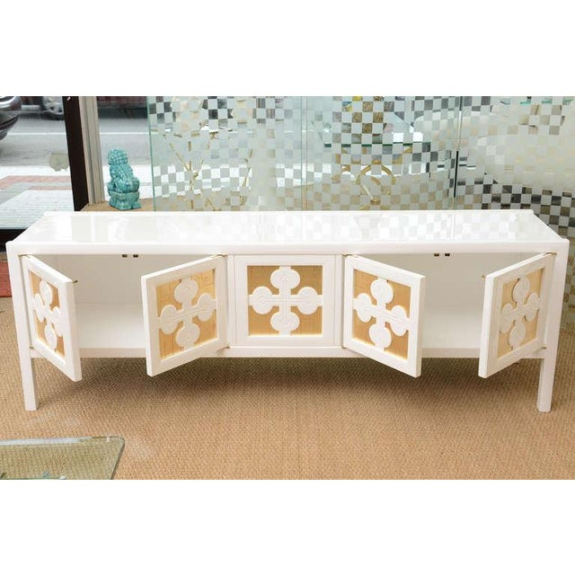 White Lacquered and Gold Leaf Low Long Console or Cabinet For Sale - Image 4 of 10
