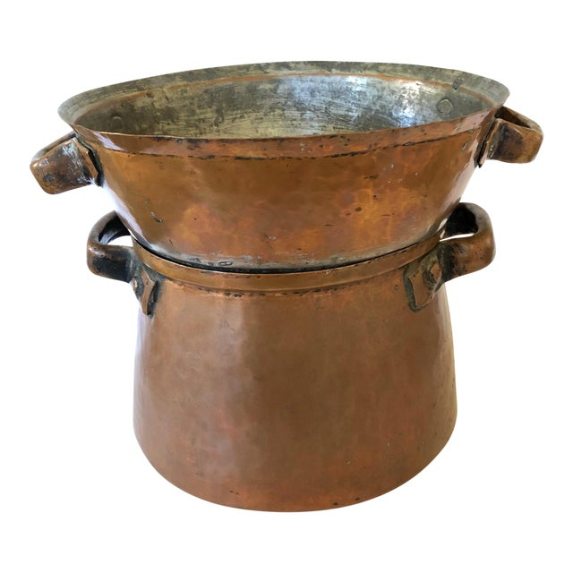 Hand Wrought French Copper Pot and Colander For Sale