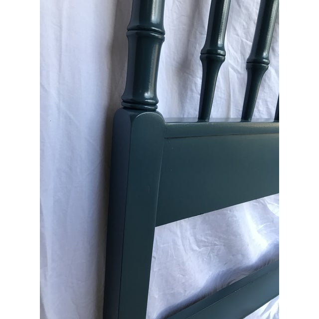 Teal Lacquered Faux Bamboo Headboard, King Size For Sale In Raleigh - Image 6 of 7