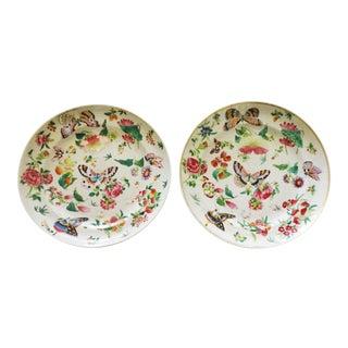 Antique Wucai Qing Porcelain Butterfly Plates C. 1820 - a Pair For Sale