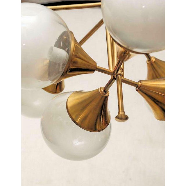 1960s Mid Century Modern 10 Lights Chandelier, Attr to Stilnovo, Italy, 1960s For Sale - Image 5 of 6