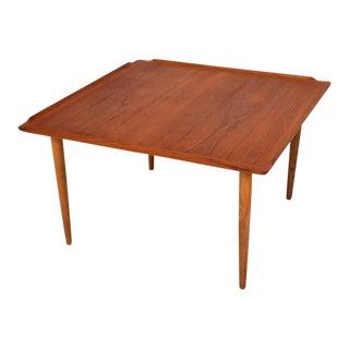 Selig Simple Sculptural Square Scandinavian Teak Coffee Table 1960s For Sale