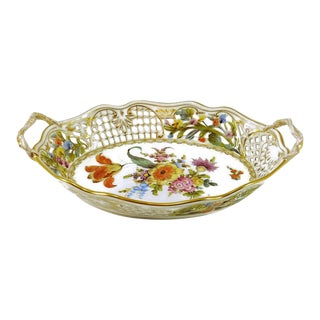 Carl Thieme Oval Reticulated Dresden Bowl For Sale