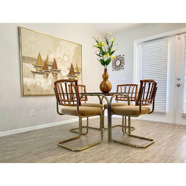 1960s Palm Collection Mid Century Modern Bamboo Glass and Brass Dining Set For Sale - Image 5 of 9