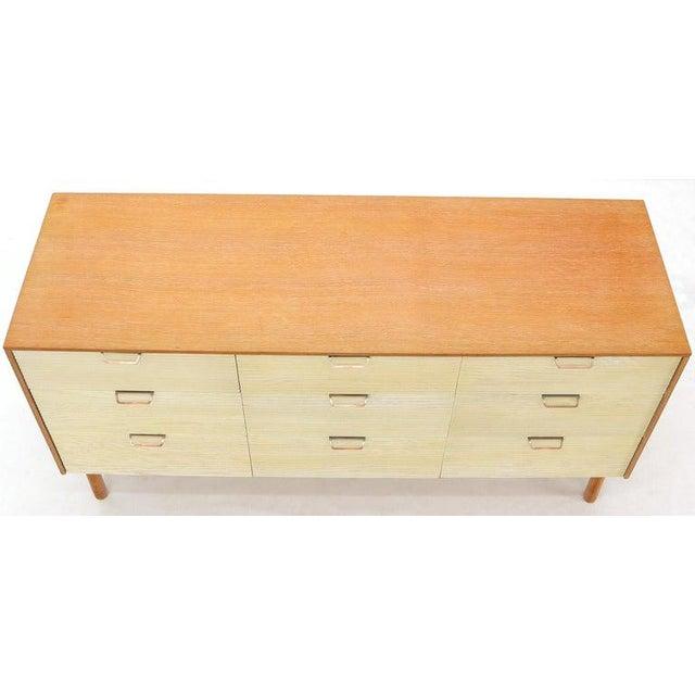 Two Tone Nine Drawer Cerused Oak Long Dresser Credenza by Mengel For Sale - Image 11 of 13