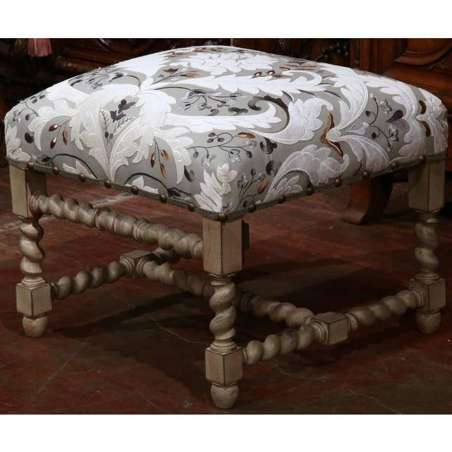 Early 20th Century French Carved & Upholstered Stool For Sale In Dallas - Image 6 of 7